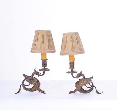 20th c. Euopean Miniature Bronze Dragon Lamps
