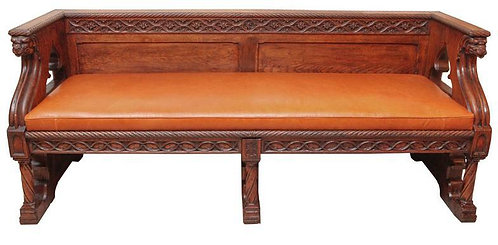 19th c. English Gothic Oak Bench