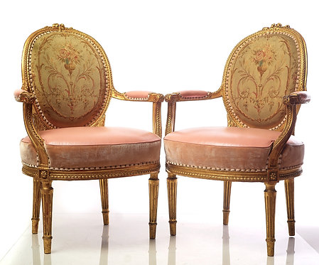 19th c. French carved giltwood Armchairs with Pink Leather