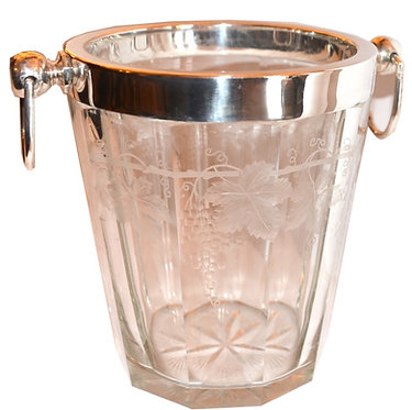 19th c. Crystal Silver Ice Bucket