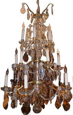 19th c. French Dore Bronze Chandelier with Crystals