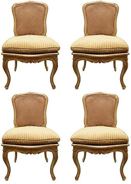 18th c. French Painted Cane-back Chairs (Set of 4)
