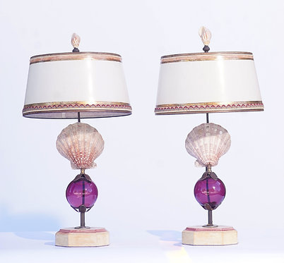 21st c. Shell Lamps with Murano Glass