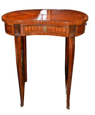 19th c. French Inlaid Kidney Table with Bronze Feet