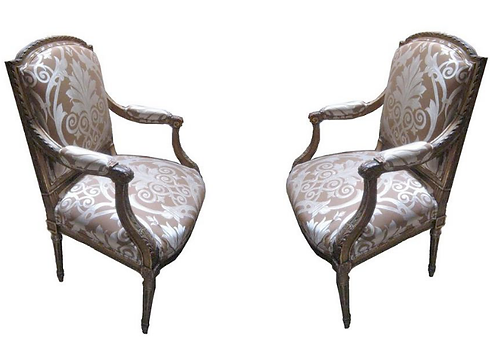 Pair of 19th c. Italian Parcel Arm Chairs