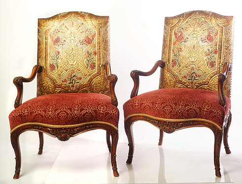 20th c. Italian Walnut  Arm Chairs with Embossed Leather Backing