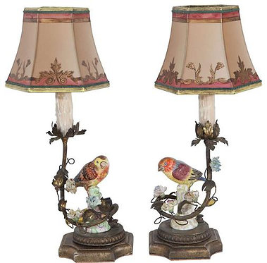 19th c. French Porcelain Bird Lamps