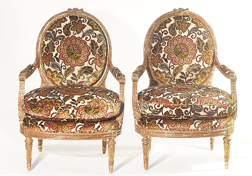 19th c. French Giltwood Armchairs