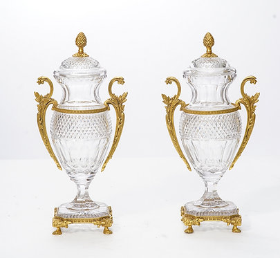 20th c. French Cut Crystal Bronze Mounted Urns