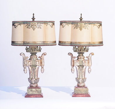 19th c. Italian Painted Giltwood Lamps