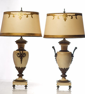 19th c. French Bronze Mounted  Marble Urn Lamps