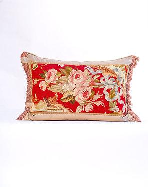 19TH Century Rectangle Aubusson Pillow Red & Blue