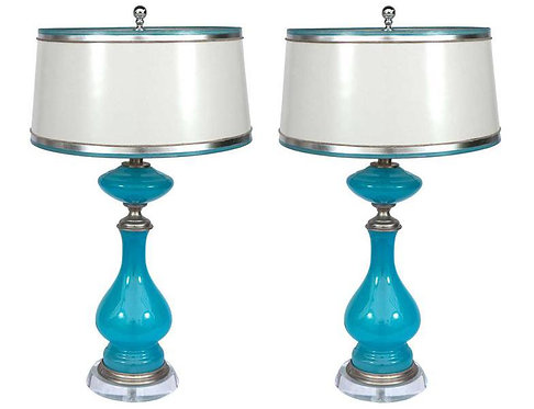 19th c. French Blue Opaline Lamps SOLD