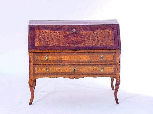 18th c. Italian Inlaid Burlwood Slant Front Desk