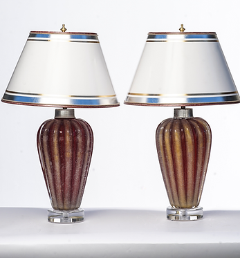 20th c. Italian Red and Gold Mid-Century Murano Lamps