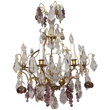 19th c. French Dore Bronze Crystal Chandelier
