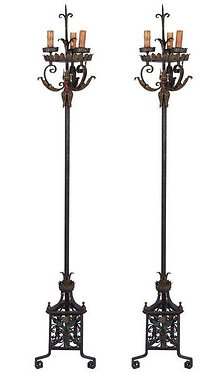 20th c. Italian Wrought Iron Torchieres