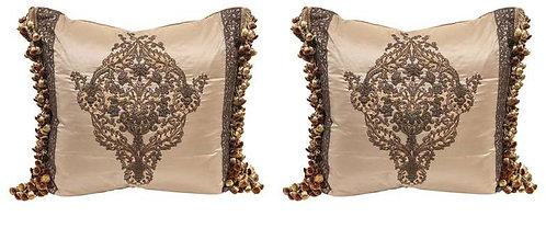 Pair 18th c. French Metal Thread Pillows