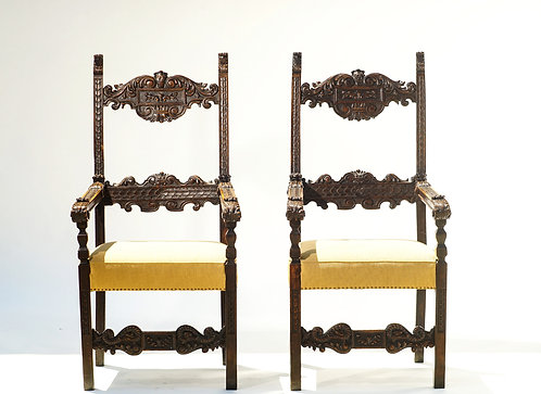 18th c. Italian Walnut Throne Chairs