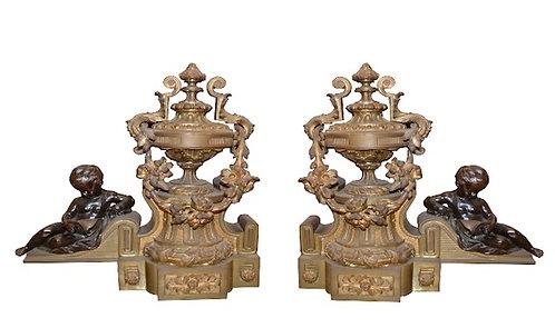 Pair of 19th c. French Cherub Bronze Chenets