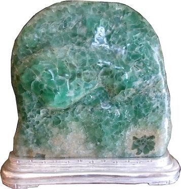 Green Fluorite on Silver-leafed Base