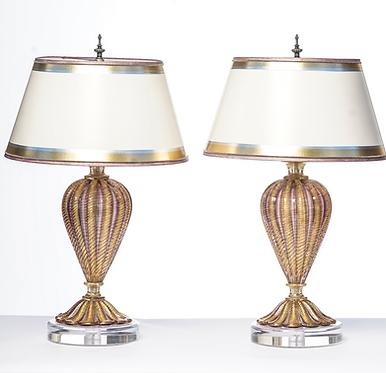 20th c. Italian Mid-Century Murano Lamps
