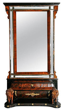19th c. Italian Walnut and Mahogany Mirror