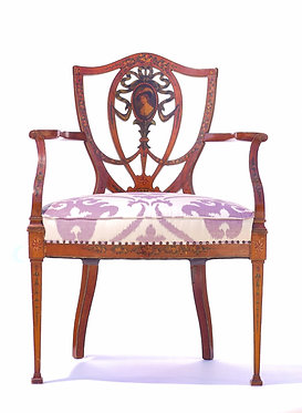 19th c. English Painted Satinwood Armchair