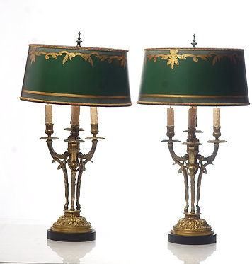 1900's French Bronze Lamps with custom shades