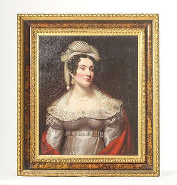 19th c. English Portrait of Woman - Oil on Canvas