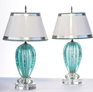 20th c. Italian Mid-Century Aqua-Marine Murano Lamps