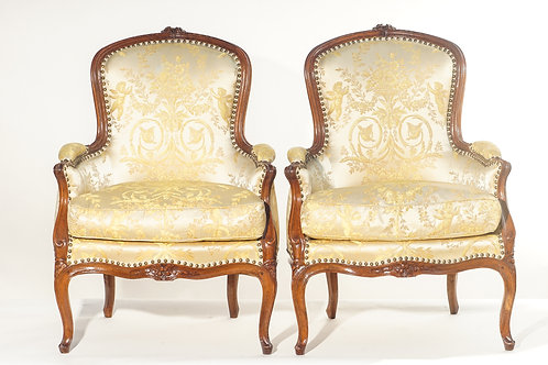 19th c. French Walnut Bergere Chairs