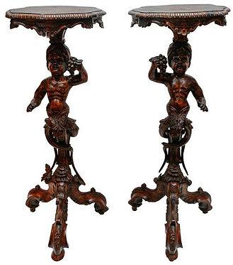 19th c. Italian Blackamoor Pedestals (pair)