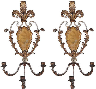 Pair 1900's Italian Wired Three-Arm Sconces