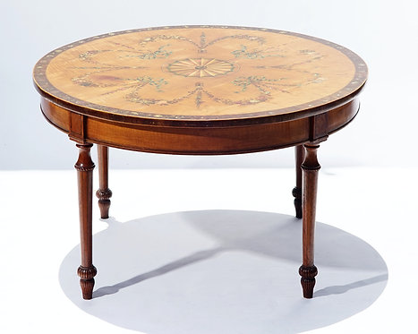 19th c. English Painted Satinwood Round Table