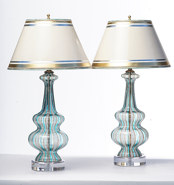 20th c. Italian Aqua Latticino Mid-Century Murano Lamps