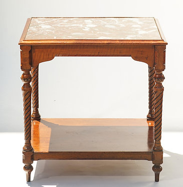 19th c. French Marble Top Walnut Table