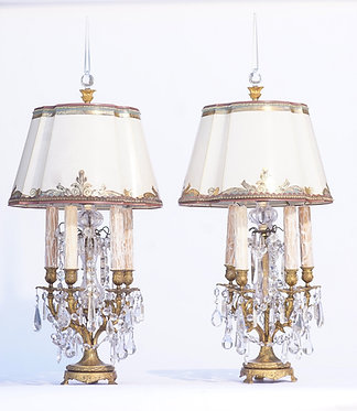 19th c. French Bronze Crystal Girandole Lamps