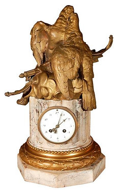 19th c. French Dore Bronze & Marble Clock