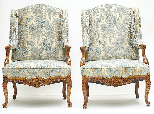 19th c. French Walnut Wingback Chairs