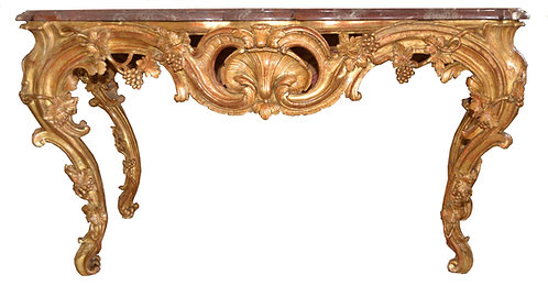 19th c. French Giltwood Console with Marble Top