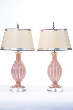 20th c. Italian Oro Pink Mid-Century Murano Lamps