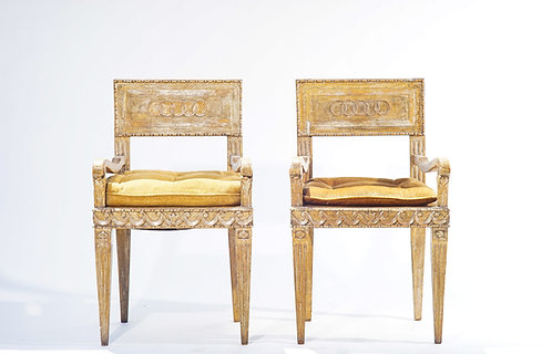 18th c. Italian Silverleafed Armchairs (Set of 4)