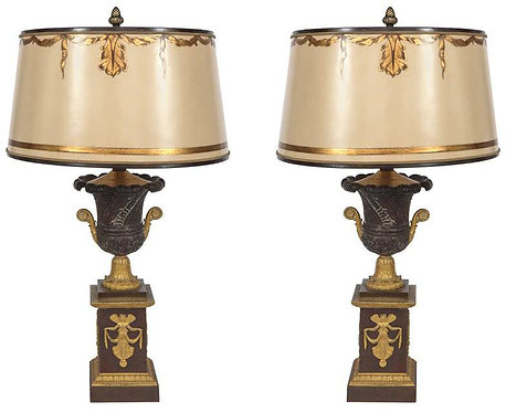 19th c. French Empire Urn Bronze Lamps