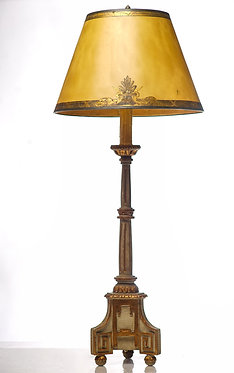 19th c. Giltwood and Painted Candle Lamp with custom Shade
