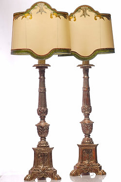 20th c. Italian Style Silver-leafed Candle Lamps