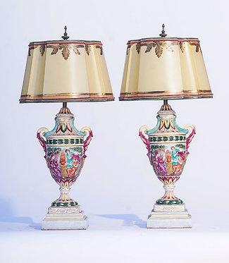 20th c. Italian Capodimonte Porcelain Urn Lamps