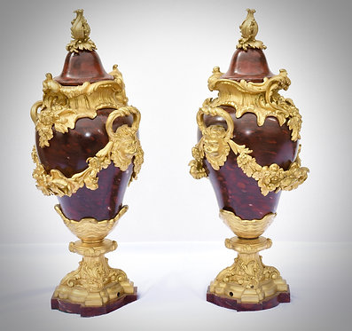 19th c. French Rouge Marble Urns