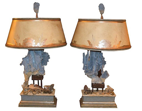 20th c. Blue Coral Handmade Lamps