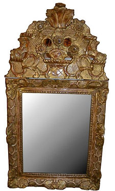 "18th c. French Regency Small Mirror 18""L  34""H"